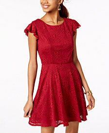 Trixxi Juniors' Lace Flutter Ruffle Dress
