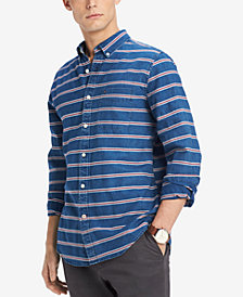 Tommy Hilfiger Men's Nicholas Stripe Custom Fit Shirt, Created for Macy's