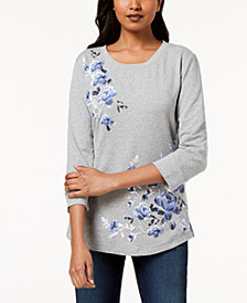 Karen Scott Floral-Print French Terry Sweatshirt Top, Created for Macy's