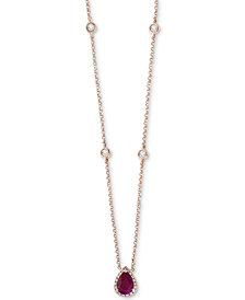 "EFFY® Certified Ruby (3/4 ct. t.w.) & Diamond (1/5 ct. t.w.) Teardrop Pendant Necklace in 14k Rose Gold, 18"" + 2"" extender"