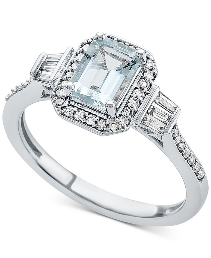 Macy's - Aquamarine (1 ct. t.w.) & Diamond (1/3 ct. t.w.) Ring in 14k White Gold
