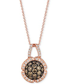 "Chocolatier® Diamond Cluster 18"" Pendant Necklace (7/8 ct. t.w.) in 14k Rose Gold"