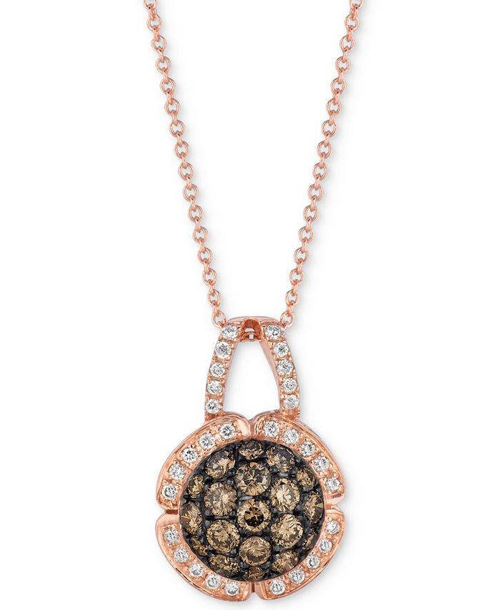 "Le Vian - Diamond Cluster 18"" Pendant Necklace (7/8 ct. t.w.) in 14k Rose Gold"