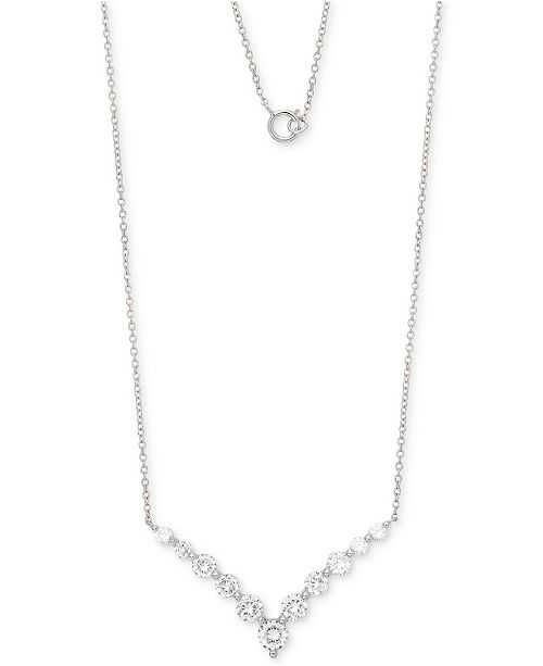 """Giani Bernini Cubic Zirconia Chevron 18"""" Pendant Necklace in Sterling Silver, Created for Macy's"""
