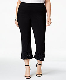 I.N.C. Plus Size Embellished-Hem Capri Pants, Created for Macy's