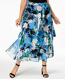 I.N.C. Plus Size Printed Tiered Skirt, Created for Macy's