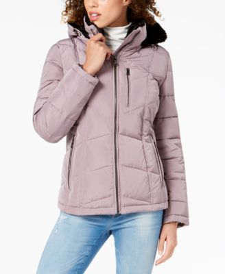 Faux-Fur-Lined Puffer Coat