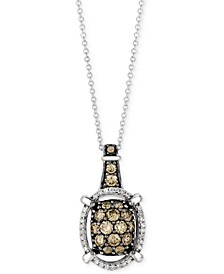 "Chocolatier® Diamond Openwork Halo Cluster 18"" Pendant Necklace (7/8 ct. t.w.) in 14k White Gold"