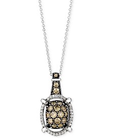 "Le Vian Chocolatier® Diamond Openwork Halo Cluster 18"" Pendant Necklace (7/8 ct. t.w.) in 14k White Gold"
