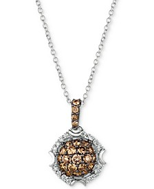 "Chocolatier® Diamond Cluster 18"" Pendant Necklace (5/8 ct. t.w.) in 14k White Gold"
