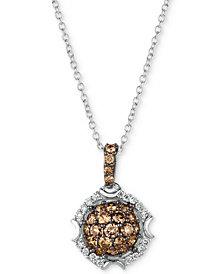 "Le Vian Chocolatier® Diamond Cluster 18"" Pendant Necklace (5/8 ct. t.w.) in 14k White Gold"