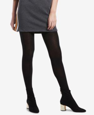 Flat-Knit Sweater Tights in Black