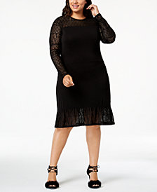 MICHAEL Michael Kors Plus Size Lace-Sleeve Knit Dress
