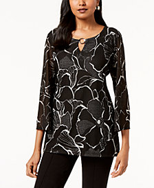 JM Collection Printed Textured Tunic, Created for Macy's