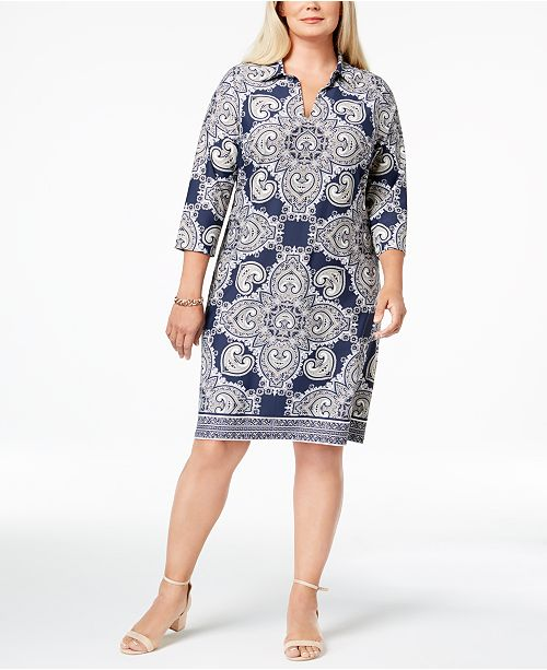 Charter Club Plus Size Medallion-Print Shift Dress, Created for Macy\'s ...