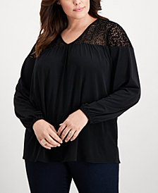 MICHAEL Michael Kors Plus Size Flocked-Mesh Top