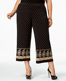 MICHAEL Michael Kors Plus Size Printed Cropped Wide-Leg Pant