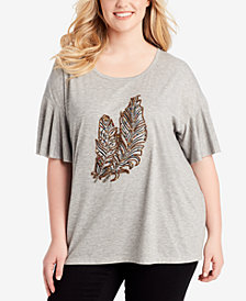 Jessica Simpson Trendy Plus Size Embellished Graphic Top