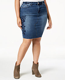 Celebrity Pink Plus Size Embroidered Denim Skirt