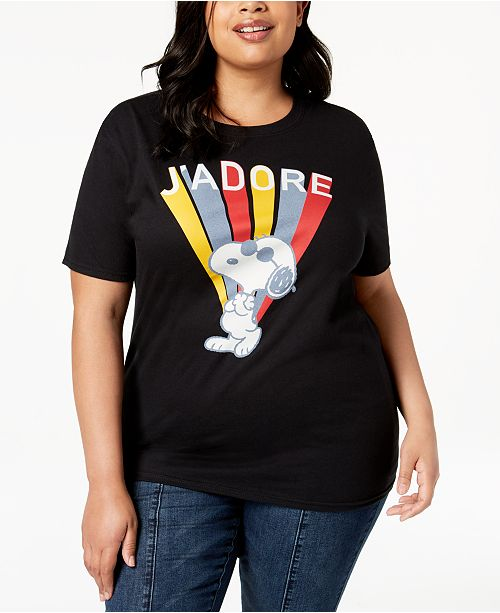 92c693e5ae84b Love Tribe Plus Size Snoopy J Adore T-Shirt - Tops - Plus Sizes - Macy s