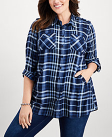 Style & Co Plus Size Plaid Tunic, Created for Macy's