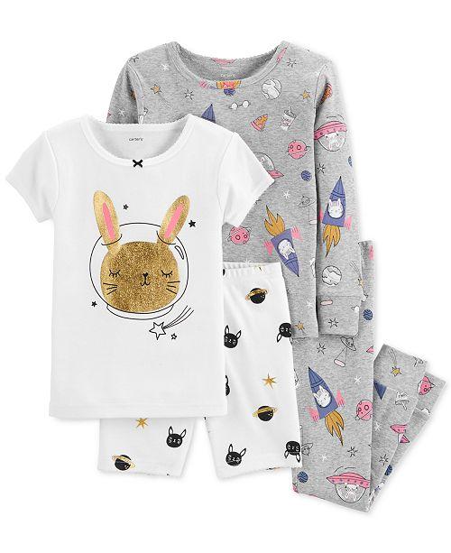 73453d9ea Carter s Baby Girl 4-Pc. Space Bunny Snug-Fit Cotton Pajama Set ...
