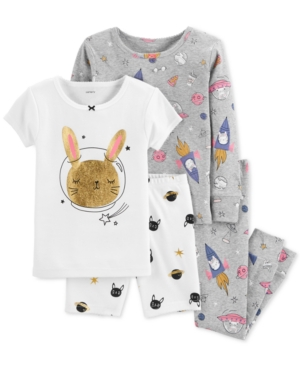 Carters Baby Girl 4Pc Space Bunny SnugFit Cotton Pajama Set
