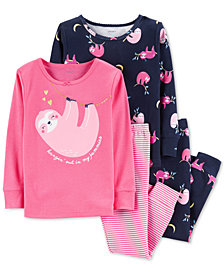 Carter's Baby Girls 4-Pc. Sloth-Print Cotton Pajamas Set