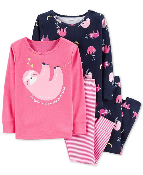 6b4f0d5da Carter's Baby Girls 4-Pc. Sloth-Print Cotton Pajamas Set & Reviews ...