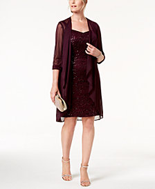 R & M Richards Lace Sequin-Embellished Dress & Jacket
