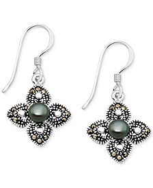 Freshwater Pearl (4mm) & Marcasite Flower Drop Earrings in Fine Silver-Plate