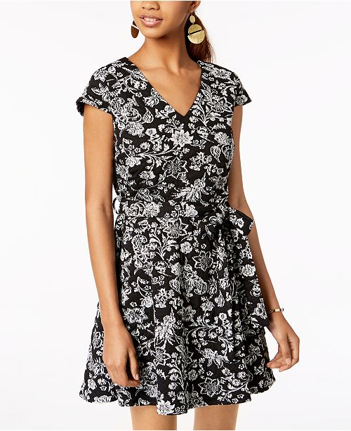 Sundae Emerald Juniors' Floral Wrap Dress Ivory Jacquard Black RxTqPxO