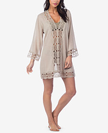 La Blanca Island Fare Cotton Crochet-Trim Tunic