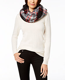 Charter Club Bouclé Plaid Infinity Scarf, Created for Macy's