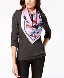 Vince Camuto Illustrated Floral Silk Square Bandana Scarf