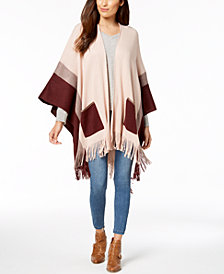 Cejon Colorblocked Patch-Pocket Fringe Poncho
