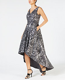 Calvin Klein High-Low Sequin-Embroidered Gown