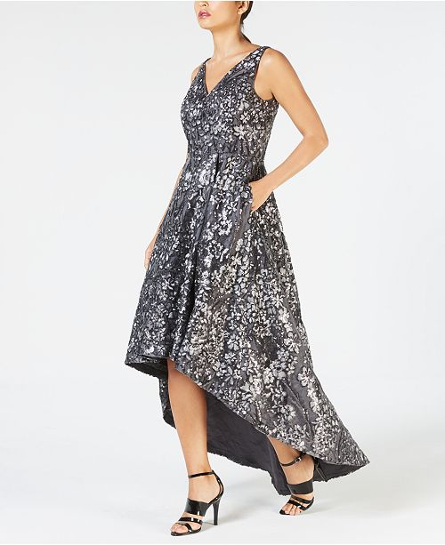 41061da6e411 Calvin Klein High-Low Sequin-Embroidered Gown   Reviews - Dresses ...