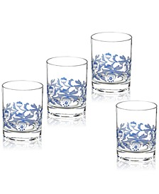 Blue Italian Double Old Fashioned Glasses, Set of 4