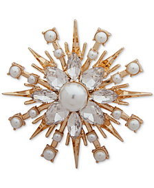 Anne Klein Gold-Tone Crystal & Imitation Pearl Cluster Pin, Created for Macy's