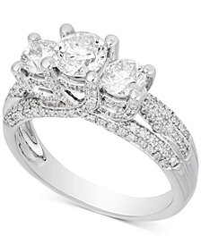 Diamond Three-Stone Pavé Engagement Ring (1-3/4 ct. t.w.) in 14k White Gold
