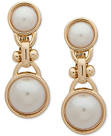 Anne Klein Gold-Tone Imitation Pearl Clip-On Double Drop Earrings
