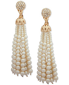 Anne Klein Gold-Tone Pavé Bead & Imitation Pearl Tassel Clip-On Drop Earrings