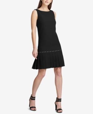 1920s Day Dresses, Tea Dresses, Mature Dresses with Sleeves Dkny Drop-Waist Pleated Dress Created for Macys $129.00 AT vintagedancer.com