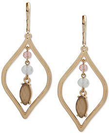 Anne Klein Gold-Tone Stone & Bead Chandelier Earrings