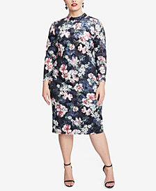 RACHEL Rachel Roy Trendy Plus Size Nadia Gardenia Floral Velvet Dress