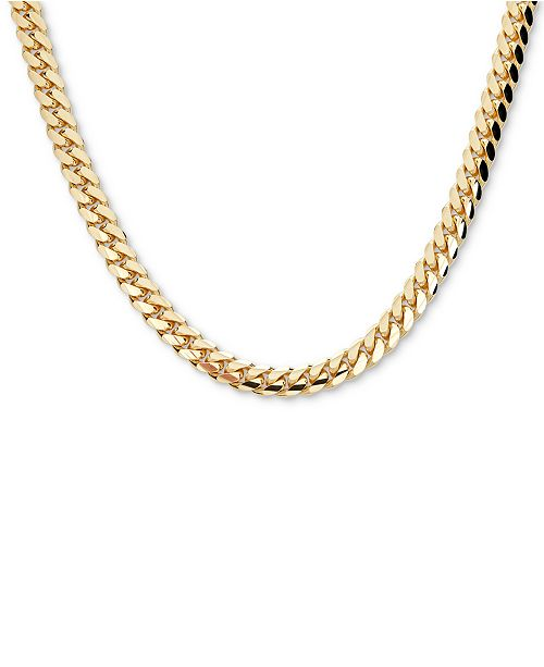 Macy S Men S Cuban Link 22 Chain Necklace In 18k Gold Plated Sterling Silver Reviews Necklaces Jewelry Watches Macy S