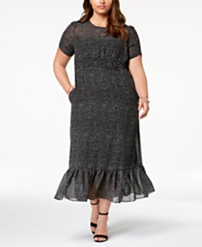 Betsey Johnson Plus Size Polka Dot Smocked Maxi Dress