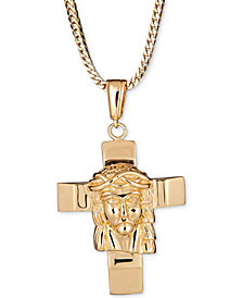 "Men's Jesus on Cross 24"" Pendant Necklace in 18k Gold-Plated Sterling Silver"