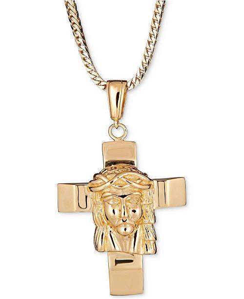 "Macy's Men's Jesus on Cross 24"" Pendant Necklace in 18k Gold-Plated Sterling Silver"